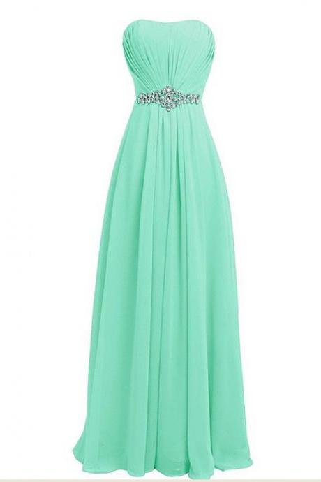 New Fashion Long Chiffon Prom Dress with Beadings Bridesmaid Dresses Party Dress - Light Green
