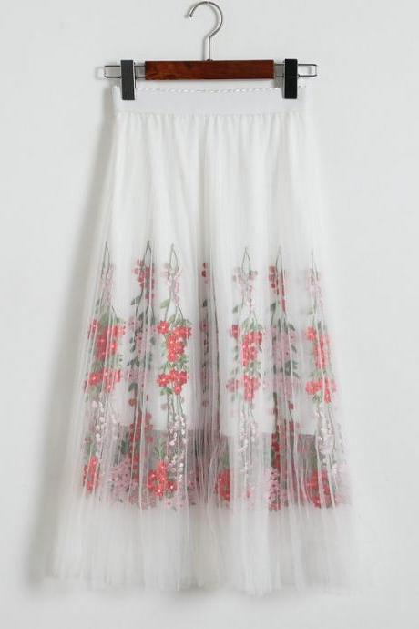 Women Floral Print Gauze Skirt - White