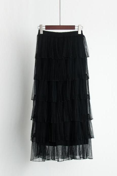 Women Hight Waist Gauze Cake Maxi Skirt - Black