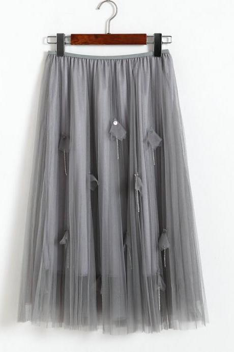 Women Elegant Gauze Beaded High-Waisted Skirt - Grey
