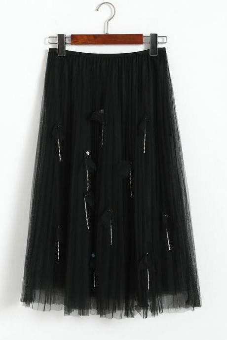 Women Elegant Gauze Beaded High-Waisted Skirt - Black