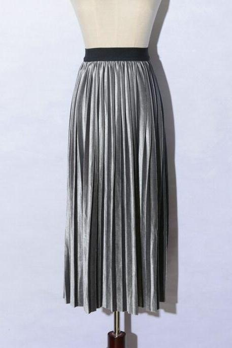 women Retro Pleated Skirt High Waist Maxi Dress - Silver