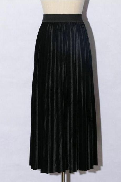 women Retro Pleated Skirt High Waist Maxi Dress - Black