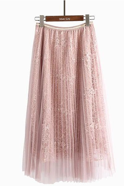 Women Beading Elastic Waist Mesh Pleated Skirt - Pink