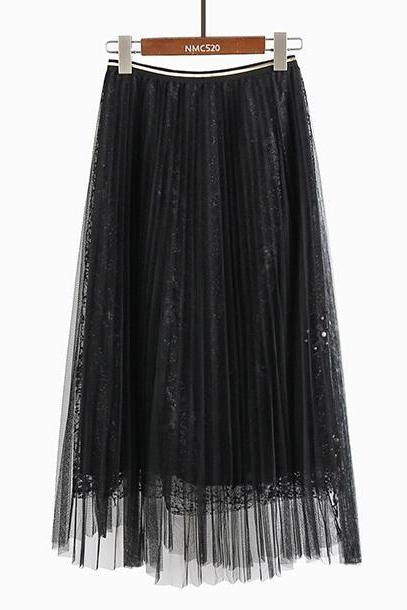 Women Beading Elastic Waist Mesh Pleated Skirt - Black