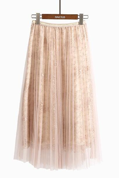 Women Beading Elastic Waist Mesh Pleated Skirt - Beige