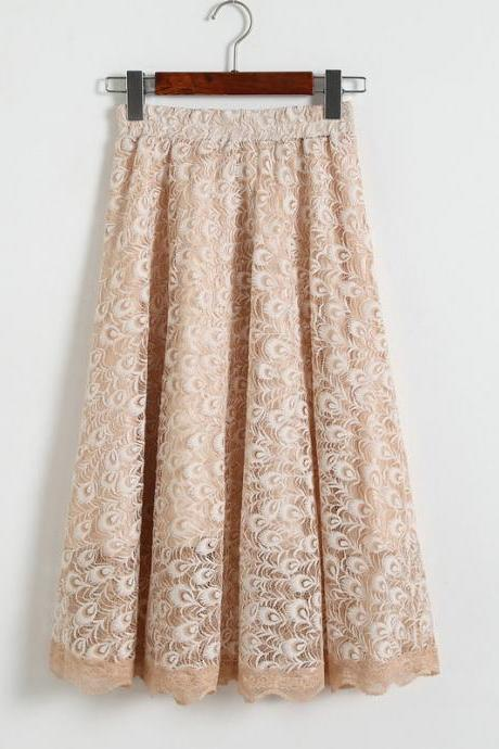 Women High Waisted Floral Lace Pleated Midi Skirt - Beige