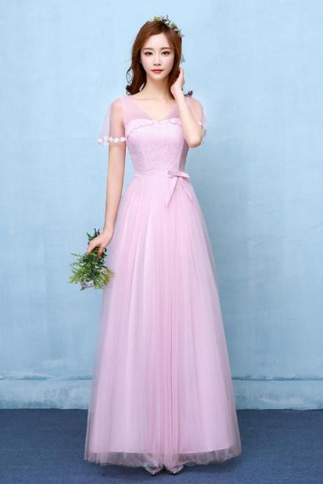 Fshion V Neck Long Bridesmaid Dress Evening Party Wedding Dress - Pink