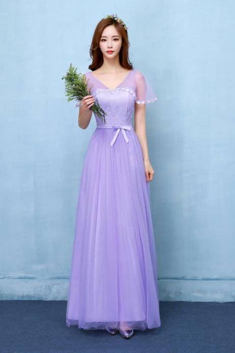 Fshion V Neck Long Bridesmaid Dress Evening Party Wedding Dress - Purple