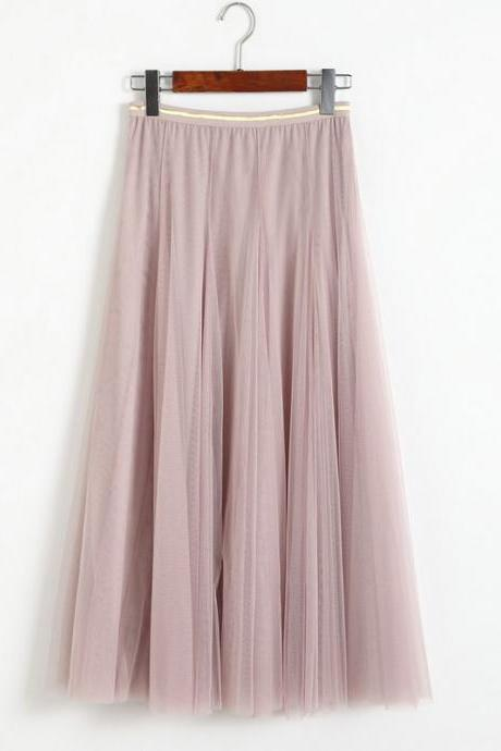 Women Elastic High Waist Pleated Skirt - Pink
