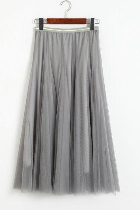 Women Elastic High Waist Pleated Skirt - Grey