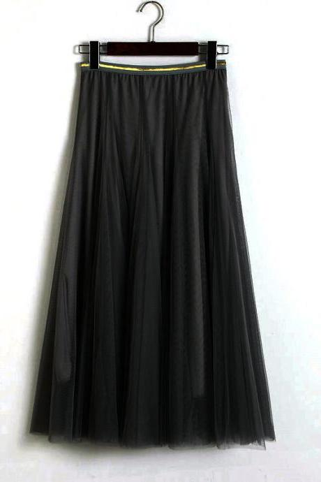 Women Elastic High Waist Pleated Skirt - Black