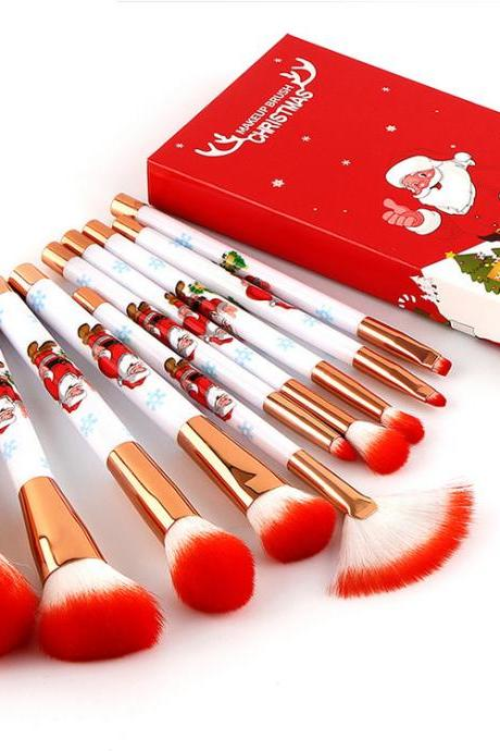10pcs/set makeup brushes Pro face make up brush Christmas with gift box