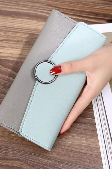 New Design Casual Fashion Clutch Wallet Long Purse - Light Green