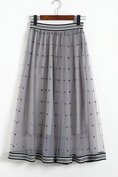 Women Gauze Polka Dot Print High Elastic Waist Skirt - Grey
