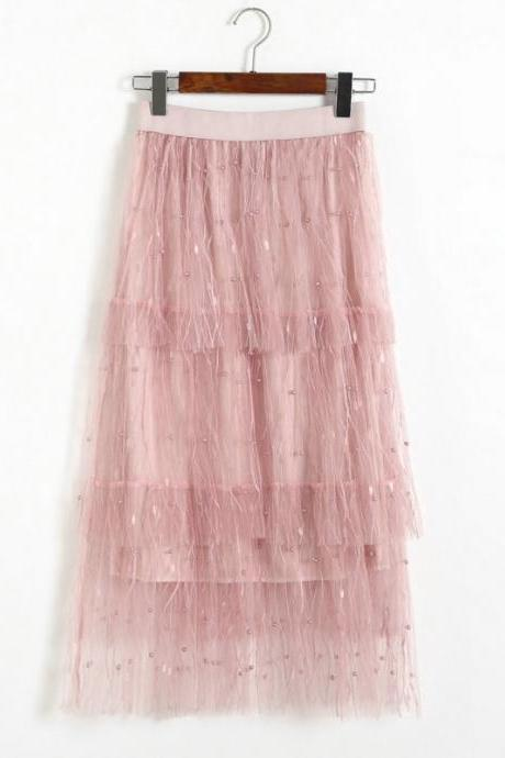 Women Solid Beading Cake Skirt - Pink