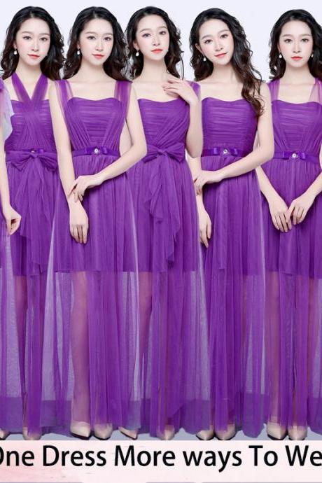 New Convertible Dress Long Bridesmaid Dress Wedding Prom Party Dress - Purple