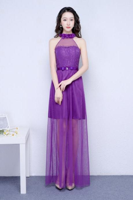 New Purple Color Halter Long Bridesmaid Prom Party Dress