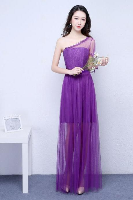 New Purple Color One Shoulder Long Bridesmaid Prom Party Dress