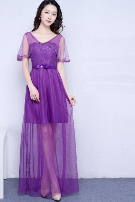 New Purple Color V Neck Long Bridesmaid Prom Party Dress
