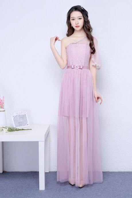 New Pink Color One Shoulder Long Bridesmaid Prom Party Dress