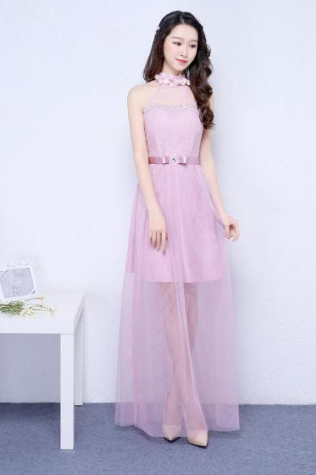 New Pink Color Halter Long Bridesmaid Prom Party Dress