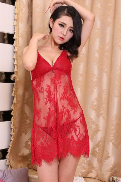 Women Lace Patchwork V Neck Nightgown Sleepwear See-Through Dress Pajamas Set