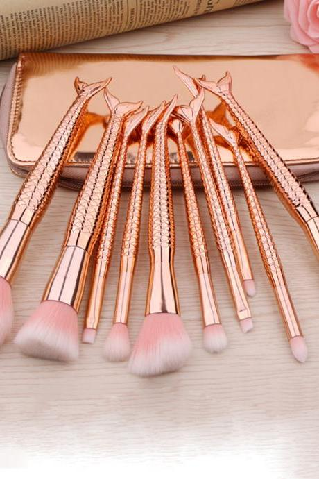 10 Style Fashion Mermaid Shaped Professional Makeup Brush Set