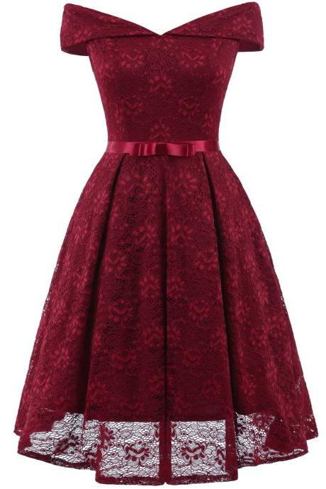 New Off Shoulder Slash Neck Bow Belt Floral Lace A Line Dresses - Wine Red