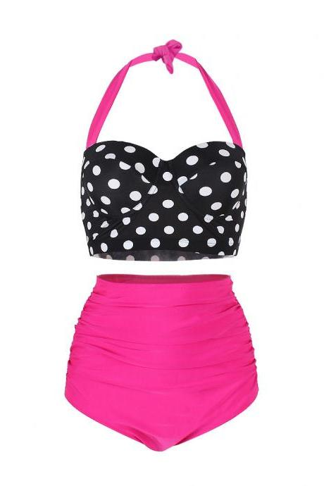 Lady Retro Style Polka Dot High Waisted Bikini Swimsuit Swimwear - Rose