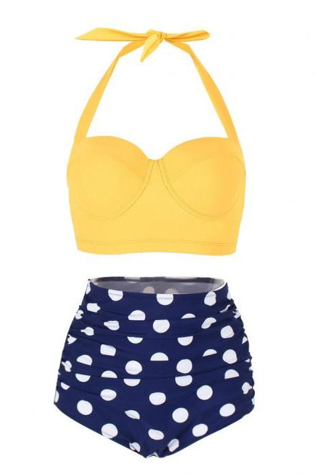Two-Piece Swimsuit Featuring Yellow Tie Halter Top and Polka Dots High-Waisted Bottoms