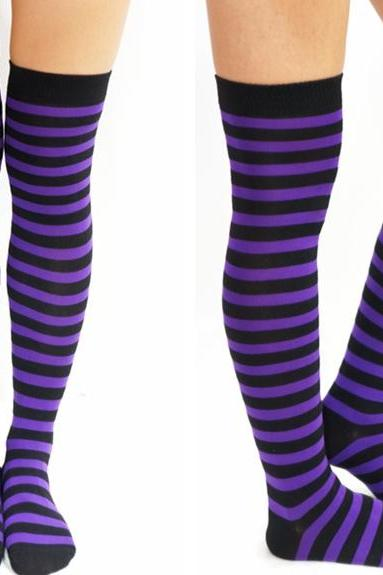 New Striped Thigh High Socks - Purple & Black