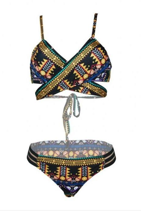 Fashion African Tribal Print Push Up Bikini Sets Black Bandage Swimsuit Beach Wear
