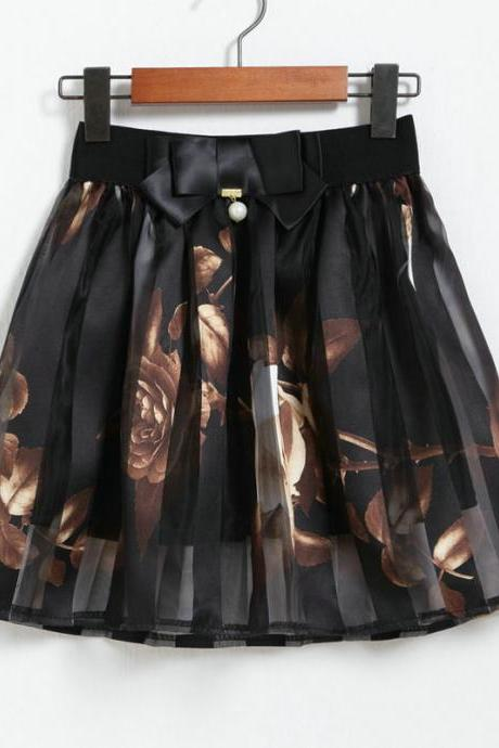 Nice Flower Pattern Chiffon Skirt - Black