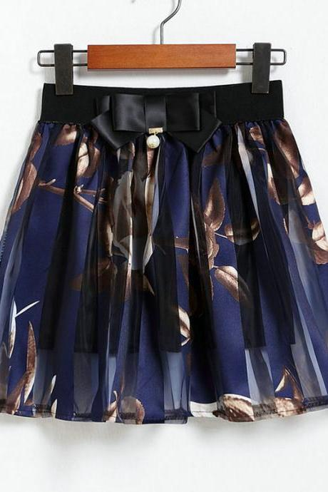 New Fashion Flower Mini Skirt - Dark Blue
