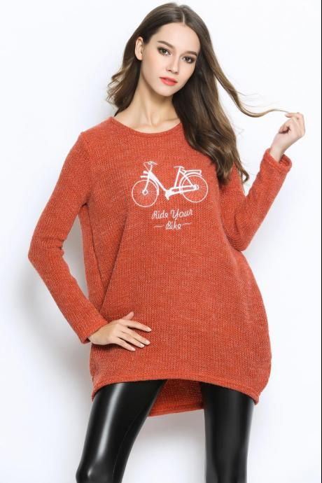Women Large Size Autumn O-Neck Pullover Long Sleeve Casual Loose Sweater Knitted Tops - Orange