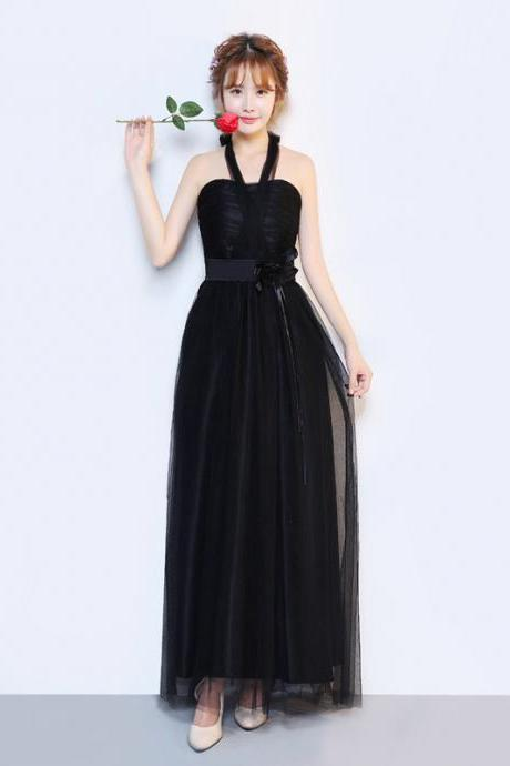 New Convertible A Line Long Wedding Party Dress - Black
