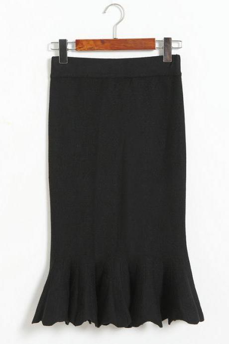 Women Sexy Solid Color Fishtail knitting Slim Skirt - Black