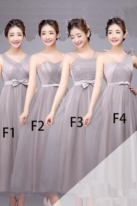 Nice Women Bridesmaid Prom Party Evening Dress Ladies Long Wedding Dress - Grey
