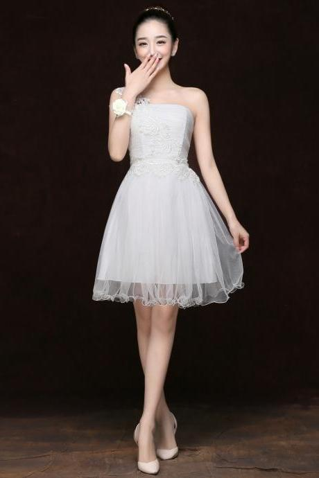Free Shipping Fashion Women One Shoulder Mini Evening Party Prom Bridesmaid Wedding Dress - White