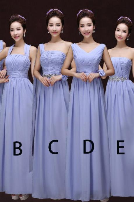 Women Fashion Chiffon Dress Bridesmaid Prom Evening Long Dress - Purple