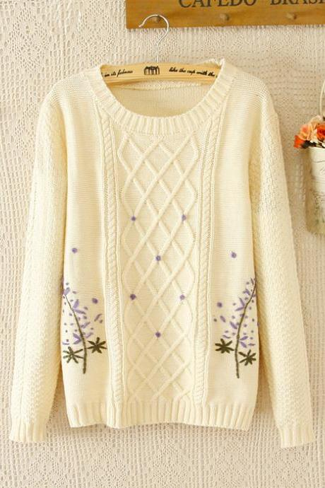 Cute Women Long Sleeve O-Neck Pullovers Sweater