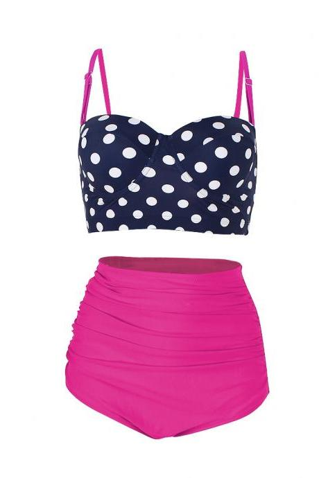 High Waisted Polka Dot Bikini Swimsuit Swimwear - Rose
