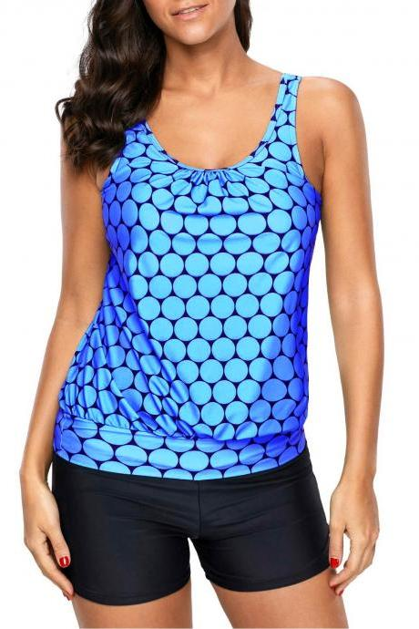Printed Scoop Neck Blue Tankini Top and Shorts