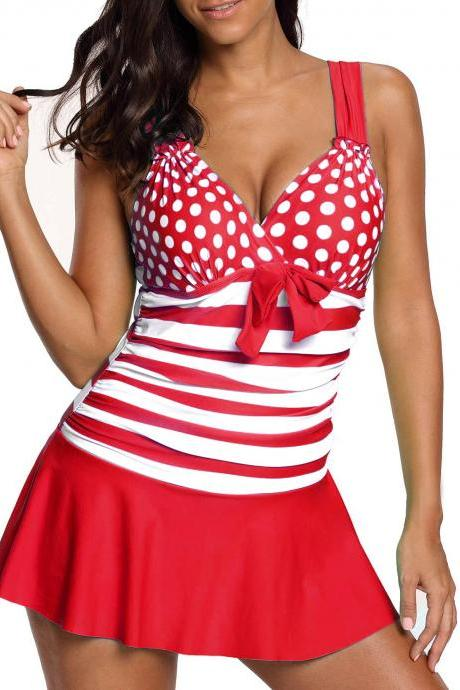 Wide Strap Polka Dot Swimdress and Shorts - Red