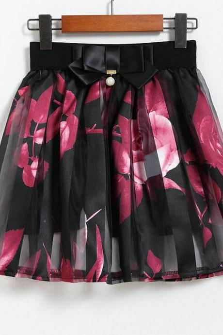 Fashion Flower Pattern Chiffon Short Skirt