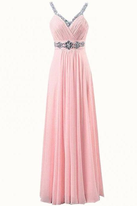 Women Sleeveless Sexy A-Line Halter Elegant Long Evening Party Formal Gowns Long Chiffon beading Bridesmaid Dress - Pink