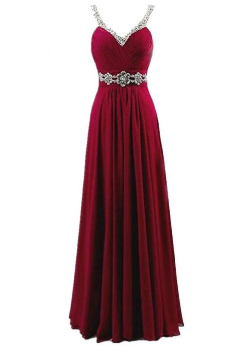 Women Sleeveless Sexy A-Line Halter Elegant Long Evening Party Formal Gowns Long Chiffon beading Bridesmaid Dress - Wine Red