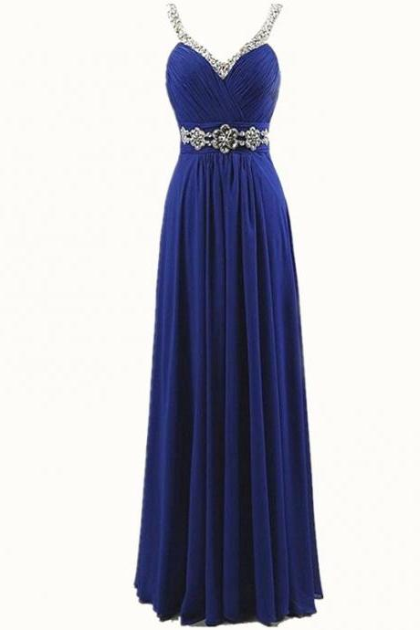 Women Sleeveless Sexy A-Line Halter Elegant Long Evening Party Formal Gowns Long Chiffon beading Bridesmaid Dress - Blue