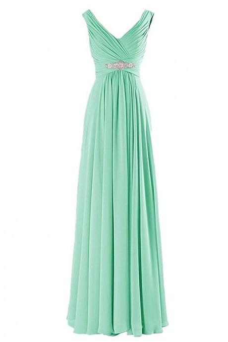 A-Line Evening Dresses Long Elegant Pleat Chiffon V-neck Beading Party Prom Dress - Light Green